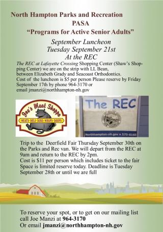 September Luncheon and  trip to Deerfield Fair